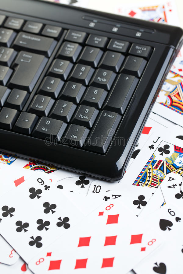 赌博的在线啤牌 免版税库存图片