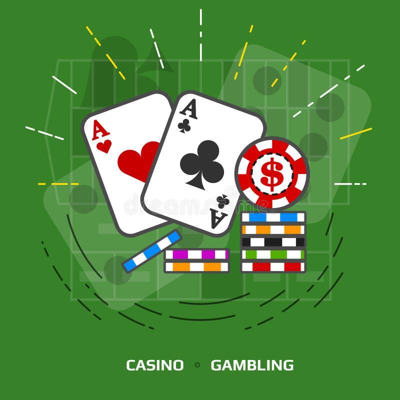 赌博的平的例证反对绿色背景 皇族释放例证