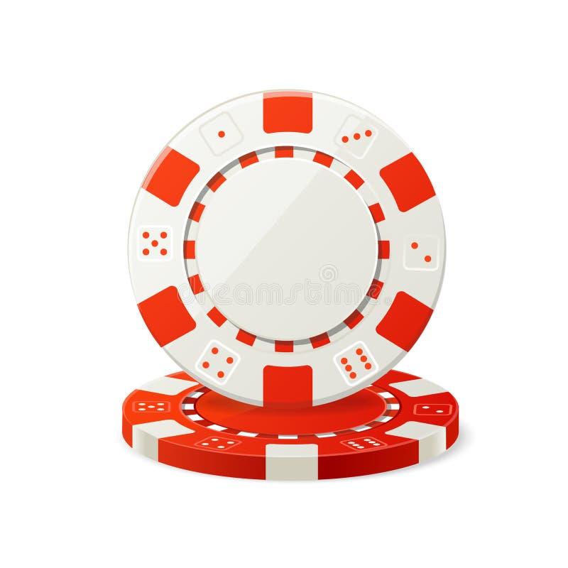 赌博红色和白色纸牌筹码的传染媒介 皇族释放例证
