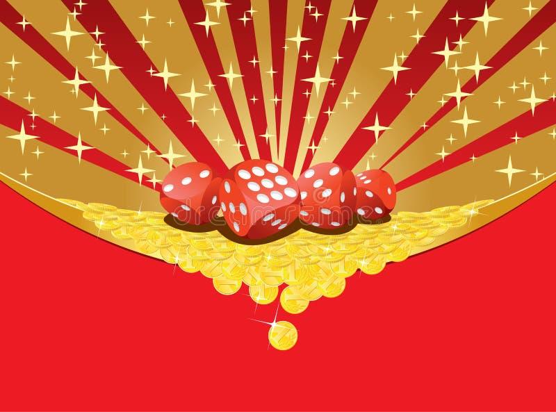 赌博背景的切成小方块和落金黄硬币 皇族释放例证