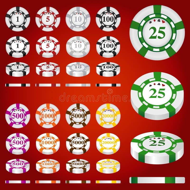 赌博集合向量的筹码 皇族释放例证