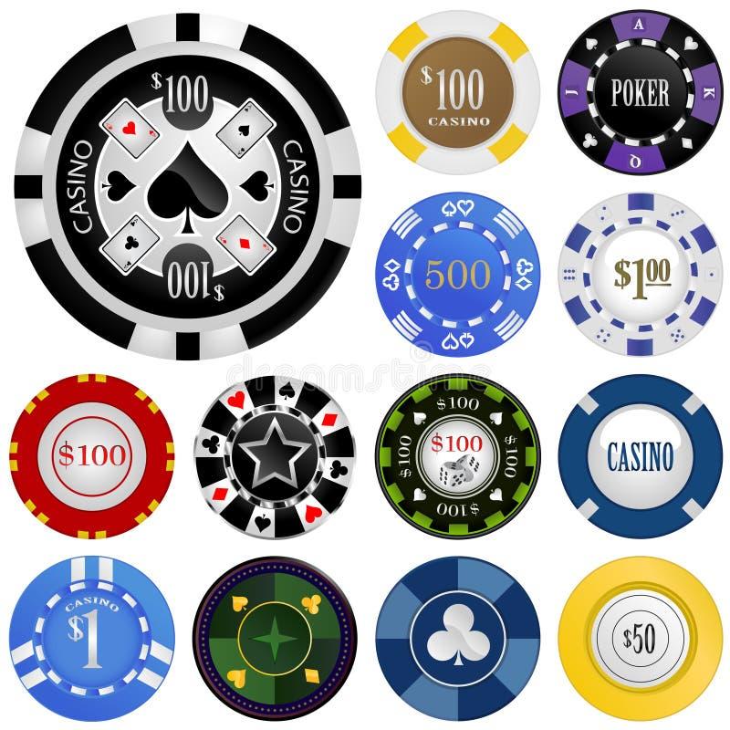 赌博集合向量的筹码 向量例证
