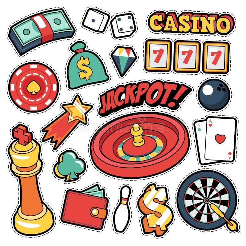 赌场徽章,补丁,贴纸-困境轮盘赌在可笑的样式的金钱卡片 向量例证