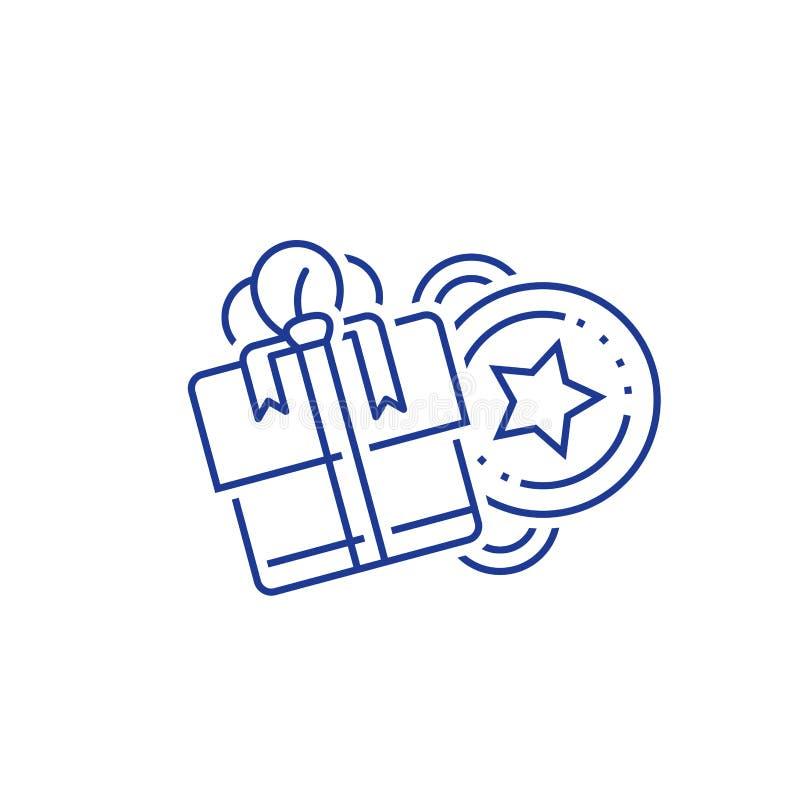 赎回礼物,胜利礼物,忠诚刺激,赢得奖励,津贴概念,优惠券,彩票,线象 向量例证