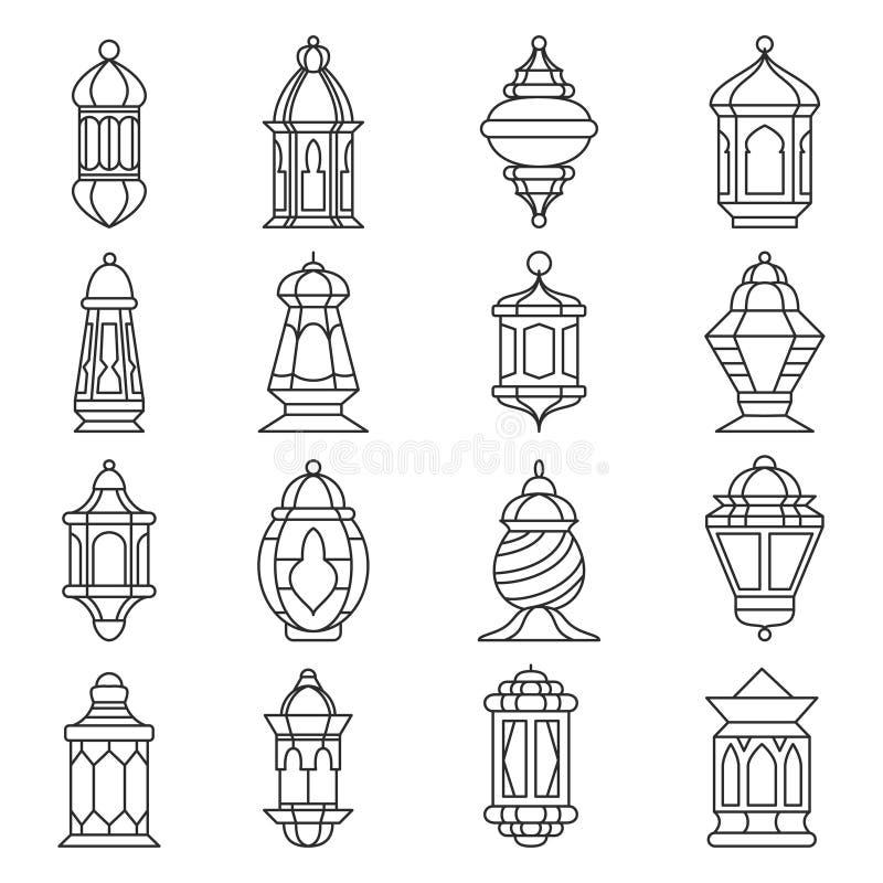赖买丹月灯笼集合 向量例证