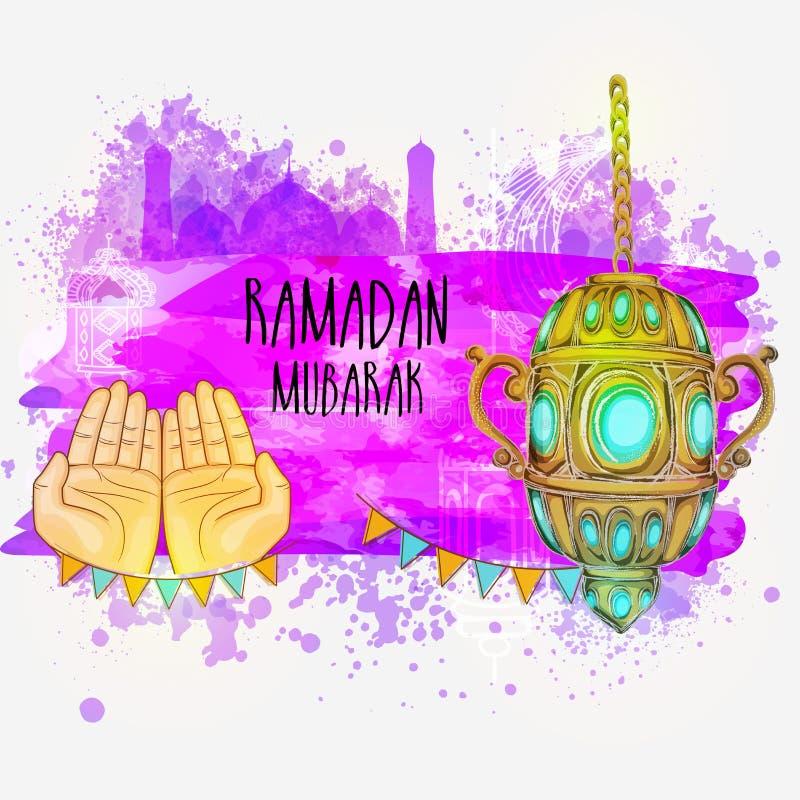 赖买丹月的穆巴拉克传统灯笼 库存例证
