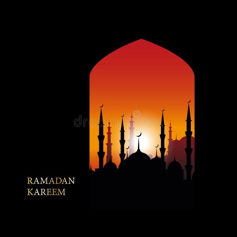 赖买丹月Kareem伊斯兰教的问候设计线与阿拉伯样式的清真寺圆顶 向量例证