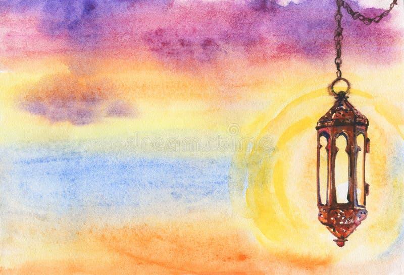 赖买丹月kareem和赖买丹月穆巴拉克的水彩回教例证 灯笼和日落手拉的背景  库存例证