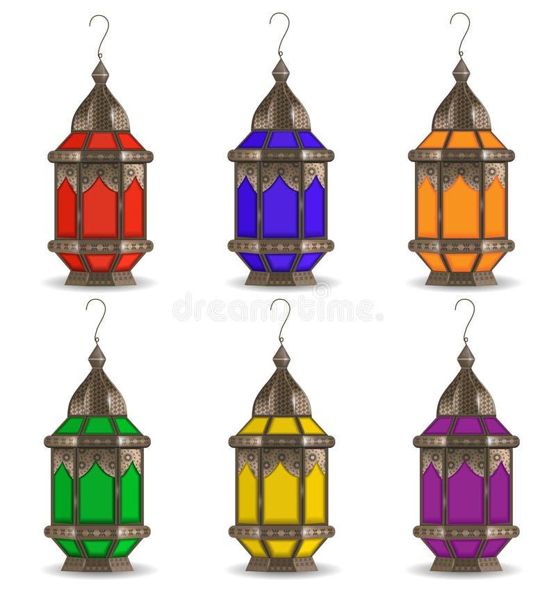 赖买丹月Kareem套多彩多姿的灯笼,在白色背景 现实3D灯 也corel凹道例证向量 皇族释放例证