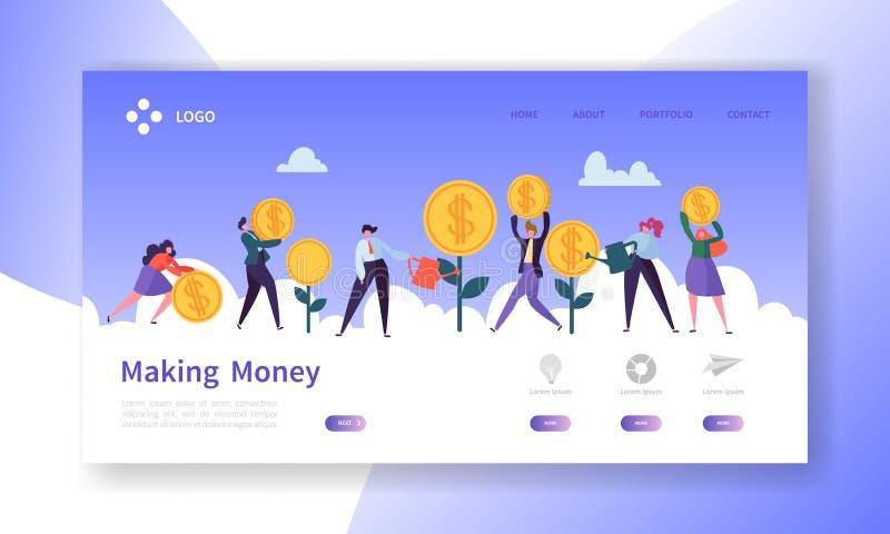 赚钱着陆页 与平的人字符攒钱网站模板的商业投资横幅 向量例证