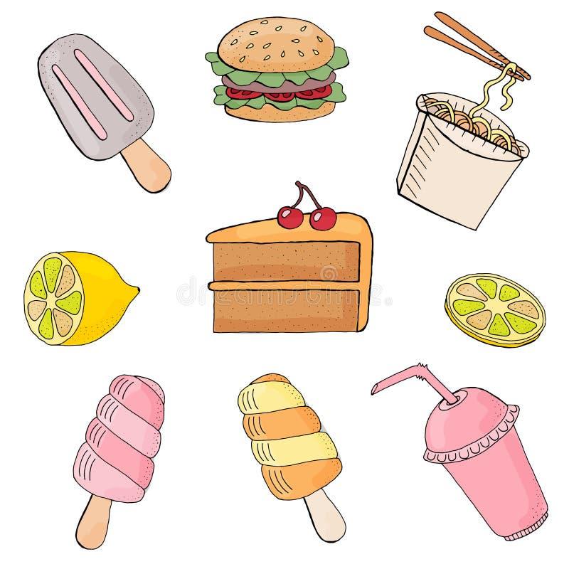 赛斯食物的传染媒介例证 在空白背景 库存例证