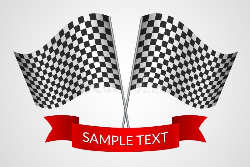 赛跑与一条红色丝带的方格的旗子在轻的背景传染媒介 向量例证