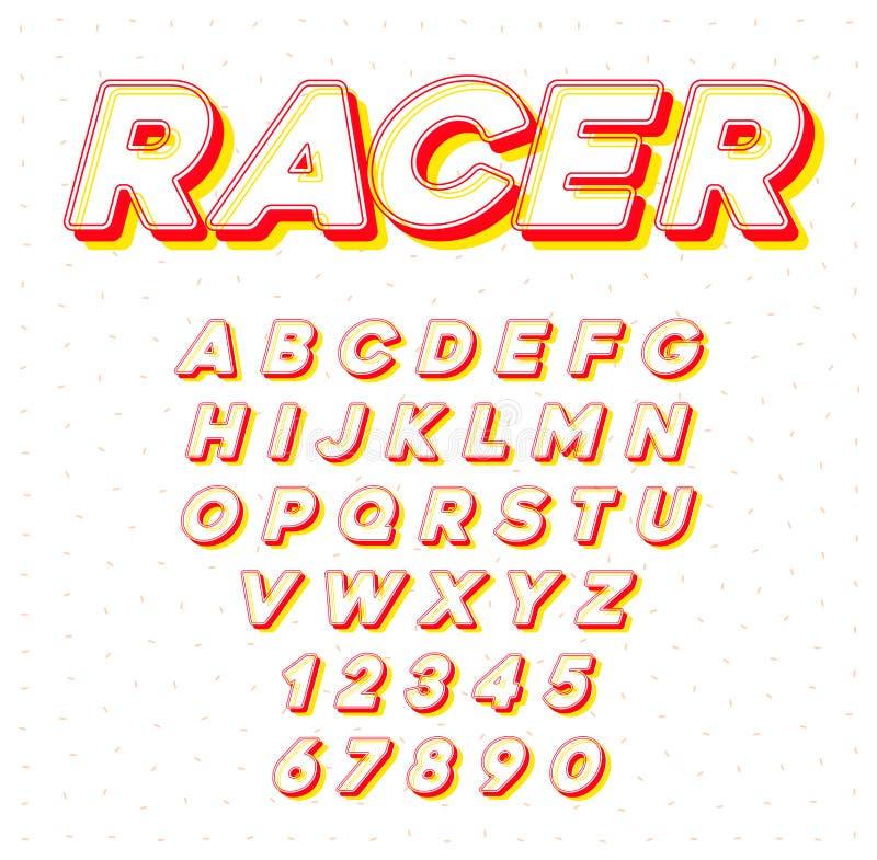 赛跑与信件和数字的传染媒介速度体育斜体的字体 向量例证