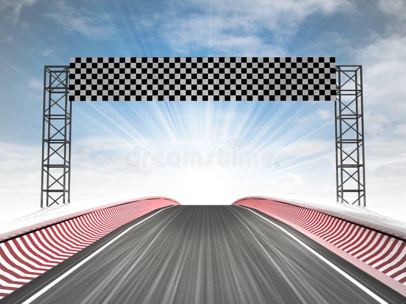 赛跑与天空的惯例终点线看法 库存例证