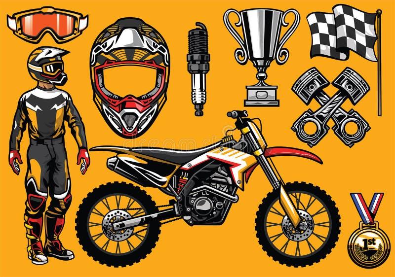 赛跑元素的套高详细的摩托车越野赛 向量例证