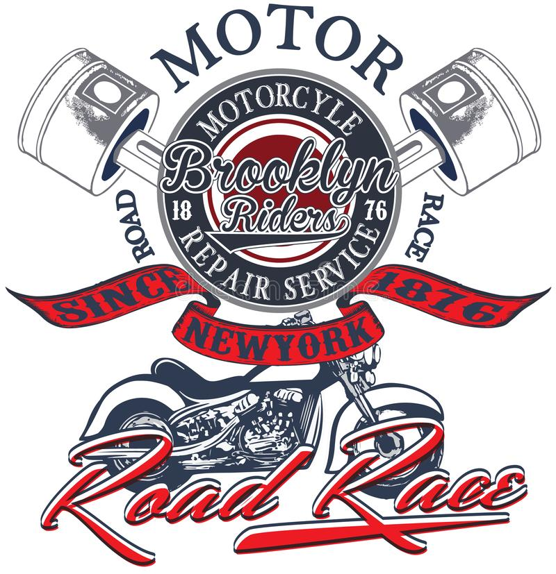 赛跑印刷术图表和海报的摩托车 头骨和老 向量例证