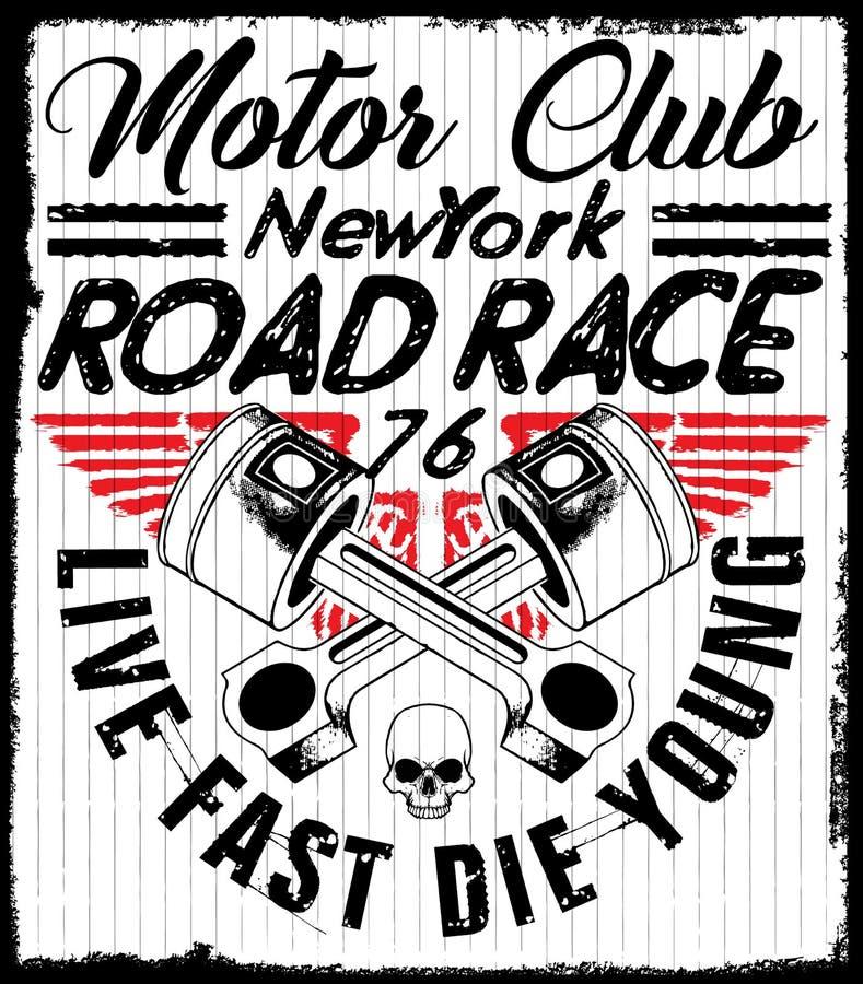 赛跑印刷术图表和海报的摩托车 头骨和老 库存例证