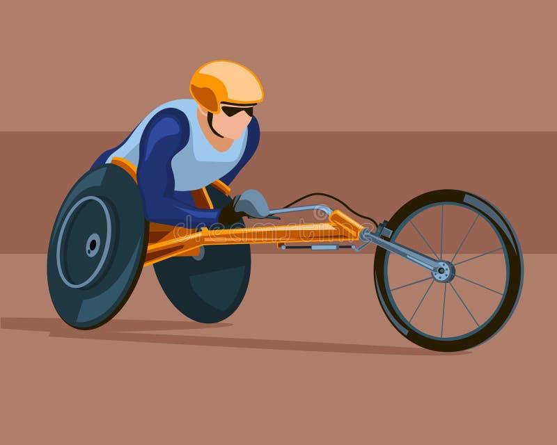 赛跑在体育轮椅 向量例证