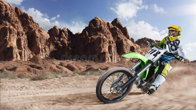 赛跑在沙漠的专业土自行车车手 库存照片