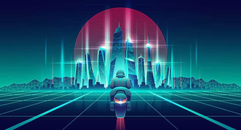 赛跑在虚拟世界动画片传染媒介的摩托车 向量例证