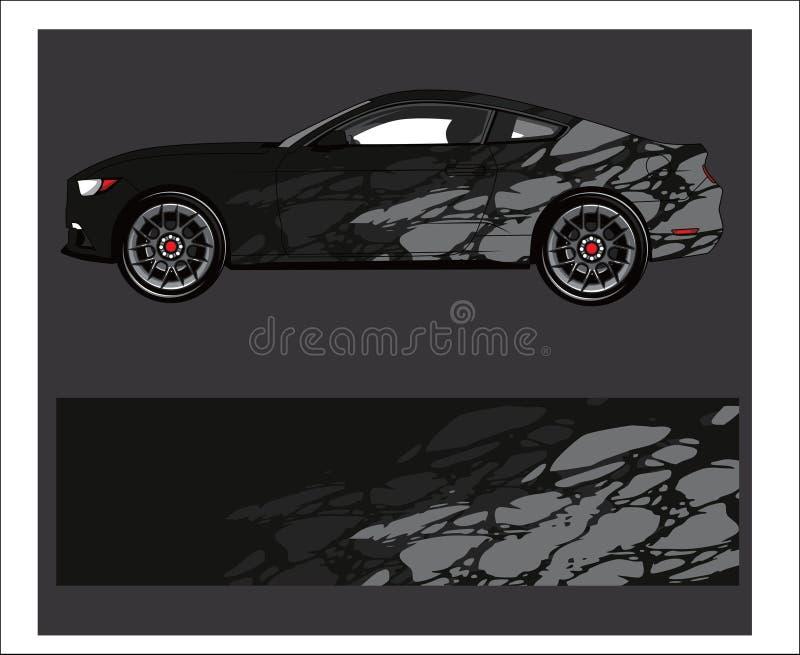 赛跑套和乙烯基贴纸的汽车和车摘要图表成套工具背景 向量例证