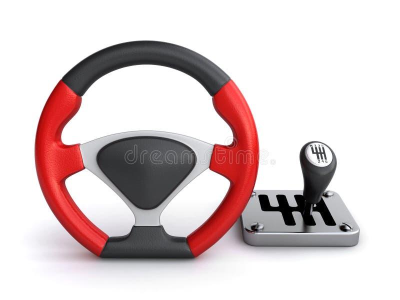 赛跑方向盘和传动箱 向量例证