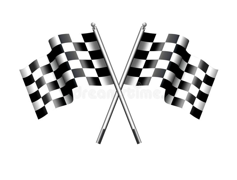赛跑方格,方格的旗子的马达,体育、开始或者结束 向量例证