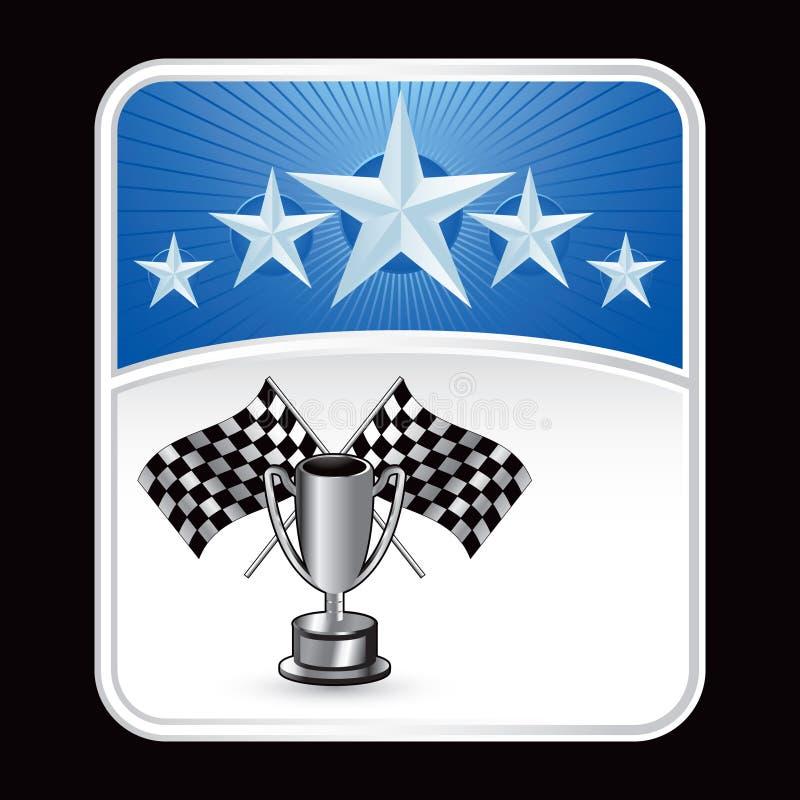 赛跑星形战利品的背景蓝旗信号下 皇族释放例证