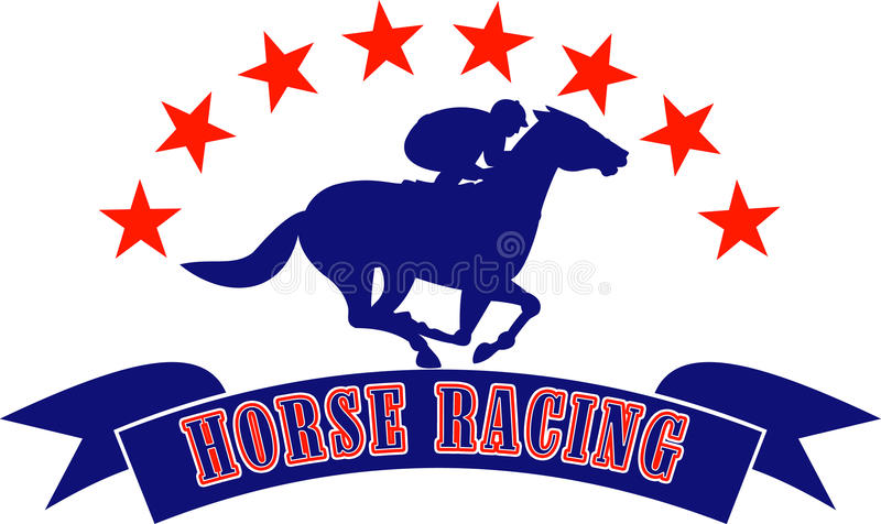 赛跑星形的马骑师 向量例证