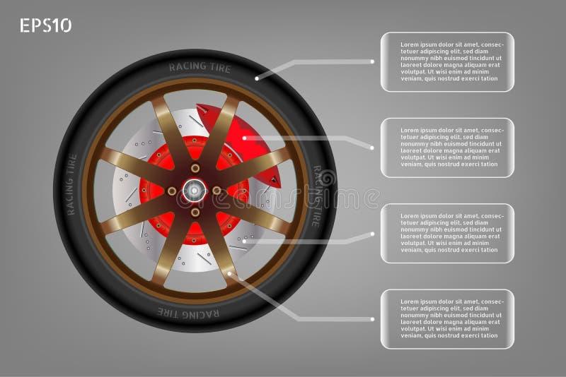 赛跑汽车和infographic横幅轮子  皇族释放例证