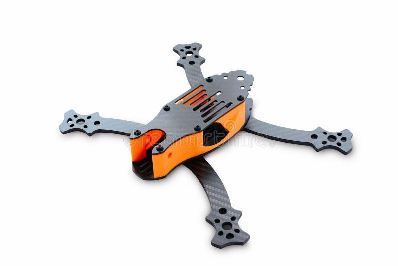 赛跑的寄生虫汇编的起点 一辆无人空中车的耐久的框架,由碳纤维和3d打印制成, iso 免版税库存图片