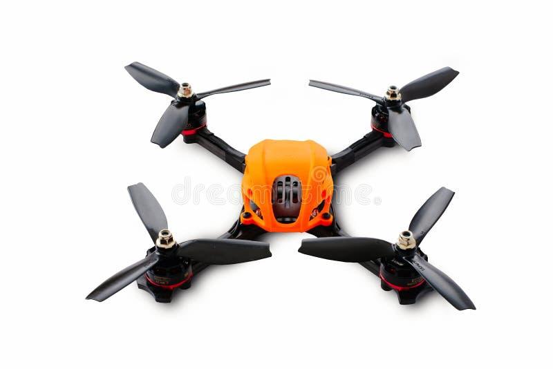 赛跑的寄生虫汇编的起点 一辆无人空中车的耐久的框架,由碳纤维和3d打印制成, iso 库存图片