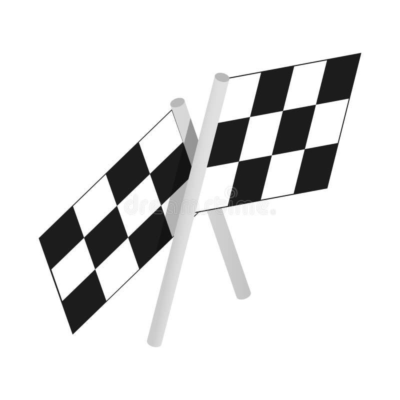 赛跑等量3d象的方格的旗子马达 库存例证