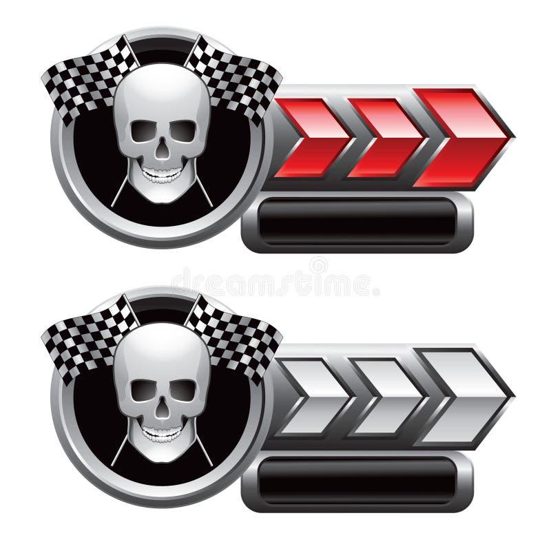 赛跑红色头骨的箭头标志选中白色 向量例证