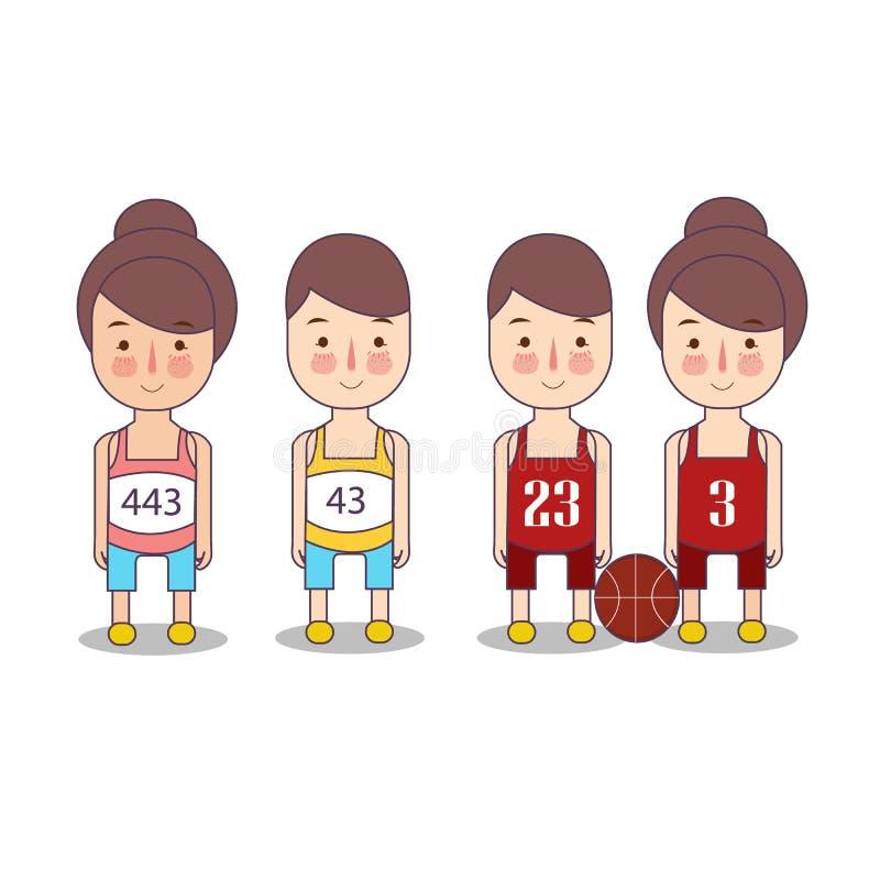 赛跑者体育篮球 滑稽的漫画人物 平的例证 背景查出的白色 设置运动员小 皇族释放例证