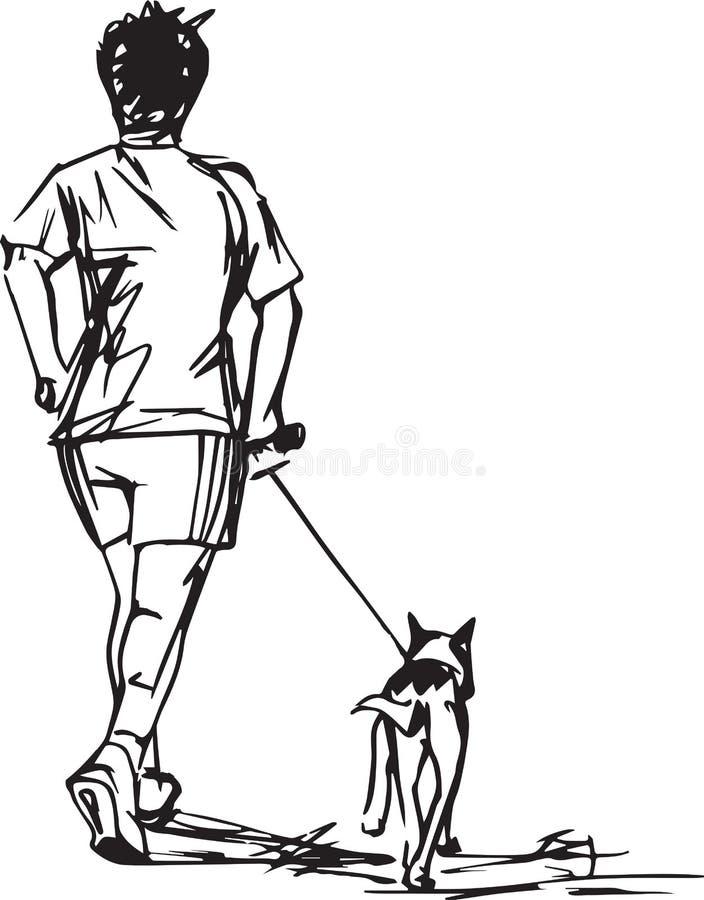 赛跑者剪影有狗的 向量例证