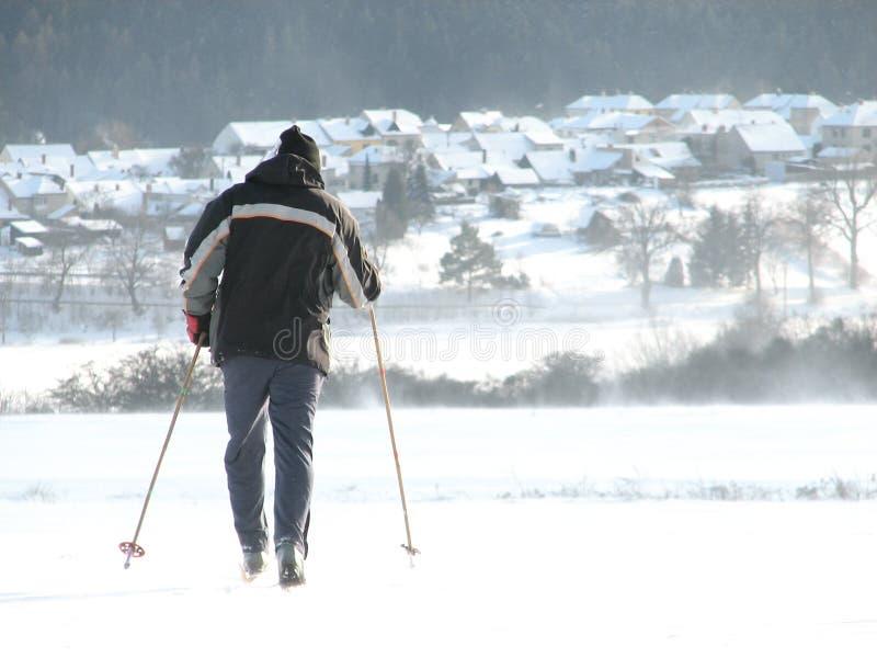 赛跑者滑雪 免版税库存照片