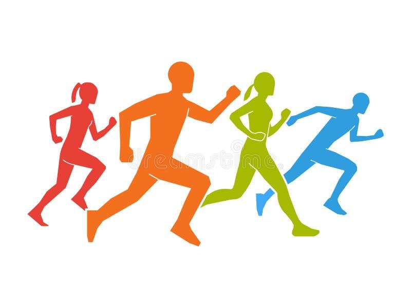 赛跑者色的剪影  平的图马拉松运动员 皇族释放例证