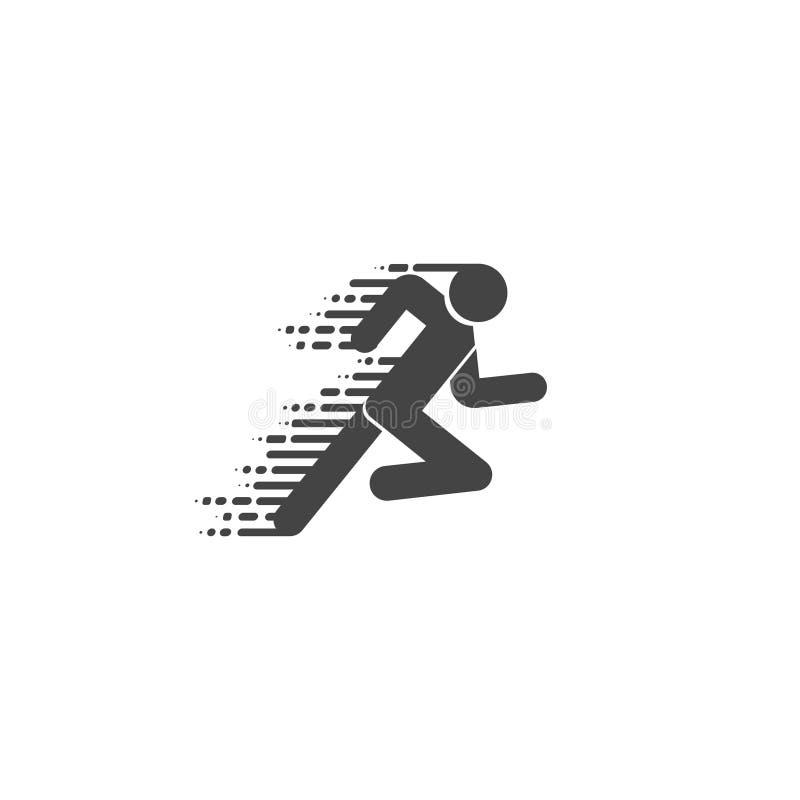 赛跑者象 在平和线性样式的奔跑商标 赛跑者标志 室外冒险体育设计象的例证 使用木炭羽毛画笔(膨胀)作为分级显示, - 皇族释放例证