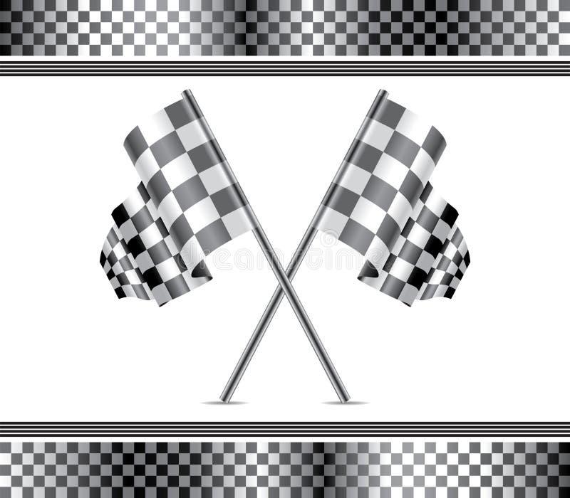 赛跑背景和旗子 向量例证