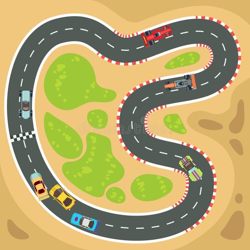 赛跑计算机和app比赛导航与顶视图跑车的背景在赛马跑道 向量例证