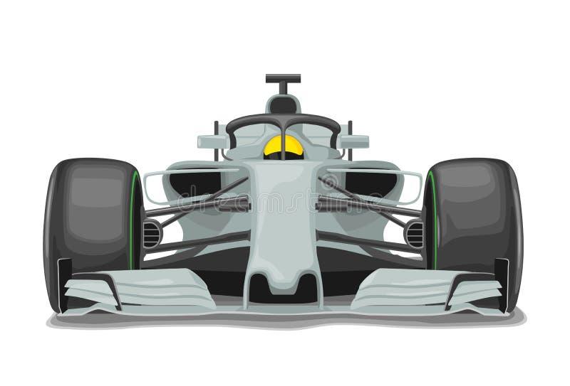 赛跑银色汽车有保护正面图 传染媒介平的彩色插图 向量例证