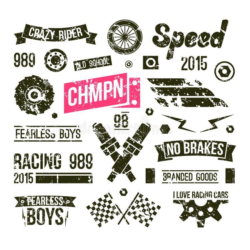赛车在减速火箭的样式的俱乐部徽章 库存例证