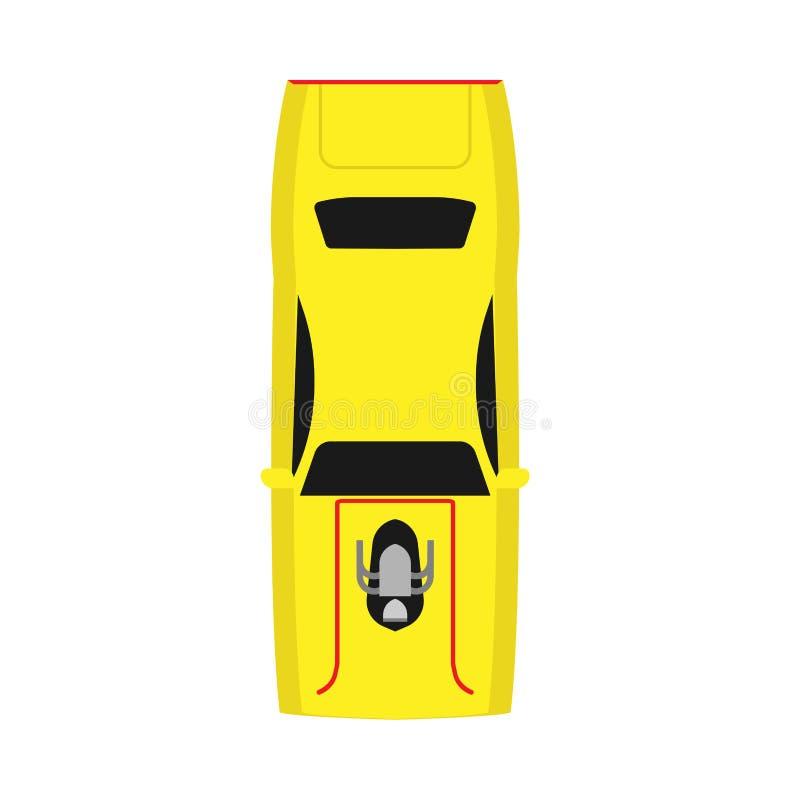 赛车顶视图黄色传染媒介象 现代运输设计汽车技术体育车 向量例证