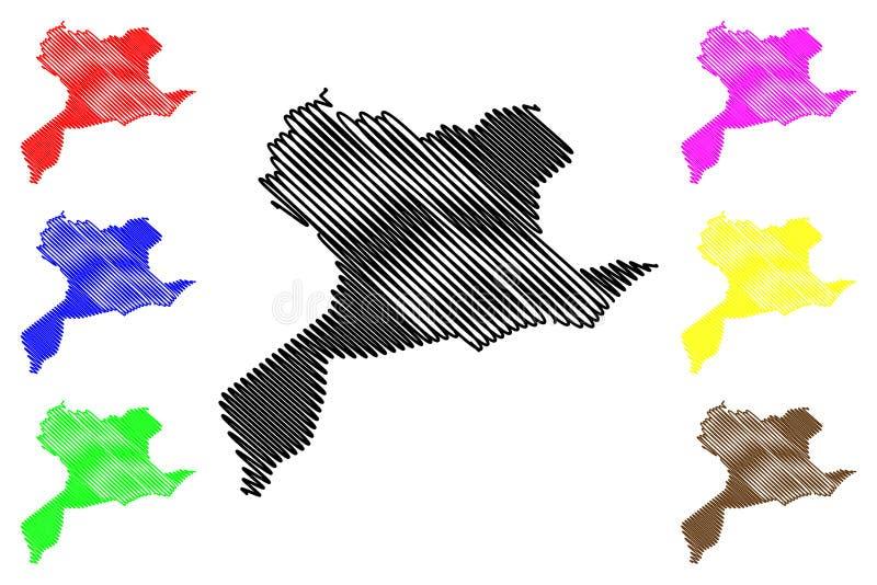 赛达阿尔及利亚的省省,人民主共和国阿尔及利亚地图传染媒介例证,杂文剪影赛达地图 向量例证