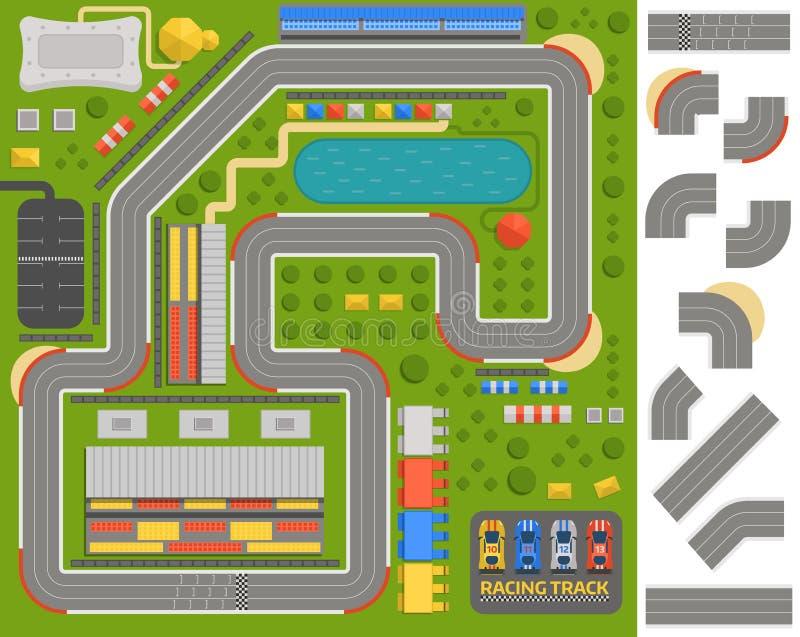 赛马跑道曲线路 皇族释放例证