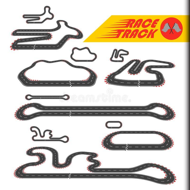 赛马跑道,赛跑圈或种族电路集合 库存例证