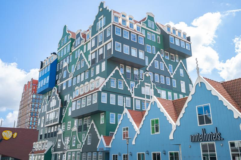 赞丹现代大厦在北荷兰省,荷兰 免版税库存图片