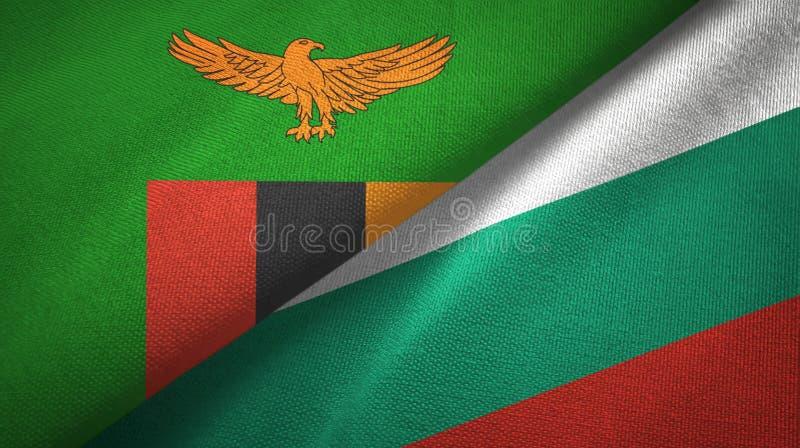 赞比亚和保加利亚两旗子纺织品布料,织品纹理 皇族释放例证