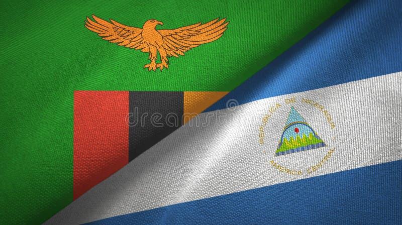 赞比亚和尼加拉瓜两旗子纺织品布料,织品纹理 向量例证